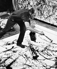 Jackson Pollock - paint splashing is a great fun way for the children to make marks on a large scale surface. It looks fabulous on a plain white bed sheet and can be easy displayed in your setting.