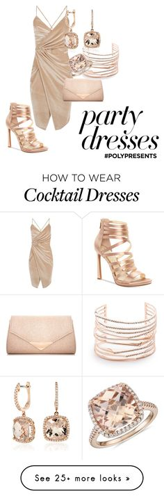 """#PolyPresents: Party Dresses"" by developingbrittany on Polyvore featuring Jessica Simpson, Boohoo, Dorothy Perkins, Alexis Bittar, Blue Nile, monochrome, rosegold, contestentry and polyPresents"