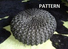Knitted Pouf PDF Pattern Pouf Poof Knitting Ottoman by isWoolish