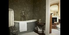 "De Gournay ""ASKEW IN FULL CUSTOM MONOCHROMATIC DESIGN COLOURS ON OLIVE WILLIAMSBURG WITH ANTIQUE STAINS"""