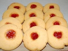 Jam Drops - This is my favourite recipe for these classic biscuits and the addition of custard powder gives them a lovely flavour. Jam Drop Biscuits, Custard Biscuits, Custard Cookies, Biscuit Cookies, Anzac Biscuits, Cookie Recipes, Dessert Recipes, Desserts, Custard Powder Recipes