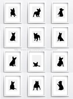 French Bulldog set of 12, Dog Illustration, Frenchie Drawing, Custom Pet portrait, Unique Home Decor, Wall Giclee Art Print, Ink painting by ColorWatercolor on Etsy