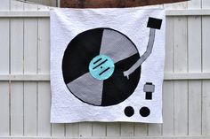 Modern Baby Quilt Turntable Record Player Music by lindsaysews