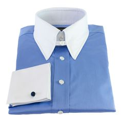Edward Sexton's luxurySky Blue Slim-Fit Tab Collar Shirt offers a signature Sexton look, with a versatile material and a subtle art-deco quality.