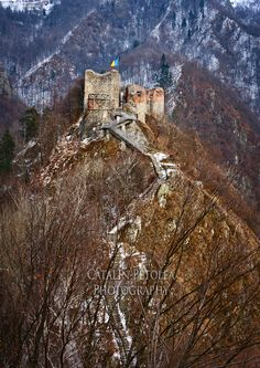 I wonder how many stairs? The notion of trying to use them in the middle of winter seems a bit daunting to me.  Fortress at Poienari, Transylvania