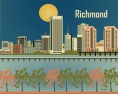 Retro Southern Skyline Prints. Ravishing Richmond, #Virginia.  BourbonandBoots.com