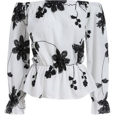 SheIn(sheinside) White Black Off the Shoulder Floral Blouse ($13) ❤ liked on Polyvore featuring tops, blouses, off the shoulder ruffle blouse, long sleeve blouse, ruffle-collar blouse, off-shoulder tops and floral blouses