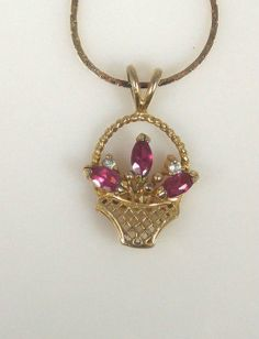 Vintage Pink Rhinestone Flowers In Basket by TheFashionDen on Etsy, $25.00