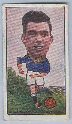 """Sports Card Forum - Top 50 Football Cards (Mostly Vintage) : #42. 1928 Barratt's """"Sweets Are Pure"""" Dixie Dean. This rare card superimposes the great Dixie Dean's noggin on a caricature of his body. I believe it is from Barratt's inaugural issue, Barratt continuing to produce candy and football cards for another 60 years well into the Margaret Thatcher era. Approximately one-third of Dean's goals came from headers. He used to practice headers with Tommy Lawton using a medicine ball…"""