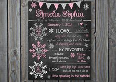 Welcome to Chalking It Up Boards! This first birthday poster is perfect for your Winter OneDerland Theme Party!    This listing is for a