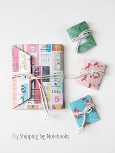 Gathering Beauty: Things I've Made From Things I've Pinned: Diy Shipping Tag Mini Notebooks. Project Life, Diy Paper, Paper Crafts, Diy Notebook, Notebook Covers, Journal Covers, Bookbinding Tutorial, Handmade Books, Handmade Journals