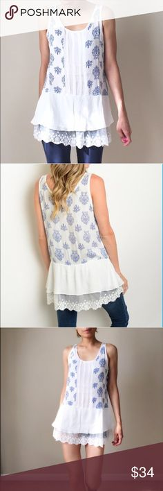 """Ruffle lace tunic top Sleeveless tunic top with extended lace ruffle bottom. Light ethereal tunic top. 100% rayon . Size s: length 29"""" bust :36"""" w: 36"""", size M: 29"""",37"""",37"""". Size L; 30"""",b38"""",w38"""". Free people style. No trade . CHICBOMB BOUTIQUE Tops Tunics"""