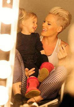 Pink - Pink with her adorable daughter Willow having fun with the lipstick.  ♥ Visit my celebrity site at http://www.celebritysizes.com/ for more fun stuff!♥ #celebritysizes #pink #willow