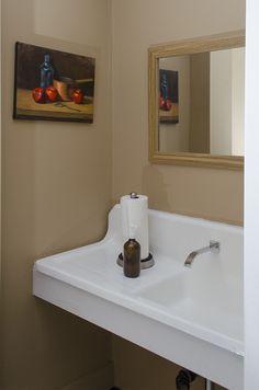 Finished bathroom space, with antique farmhouse sink and modern fixture Antique Farmhouse, Sink, Restaurant, Vegan, Mirror, Interior Design, Space, Bathroom, Antiques