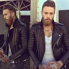 beard, tattoo