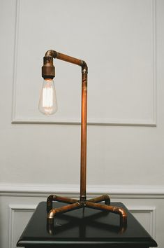 Copper Pipe lamp with edison bulb Copper lamp by theCIVILIAN, $168.00
