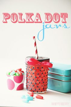 "Polka Dot Jars - so cute!    Just use ""Americana"" Deco art glass paint 3D frost gloss enamels and 8oz jelly jars. Can buy Mason Daisy Drinking Lids"