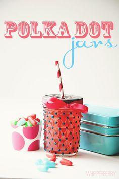 "Polka Dot Jars - so cute!    Just use ""Americana"" Deco art glass paint 3D frost gloss enamels and 8oz jelly jars. Can buy Mason Daisy Drinking Lids"