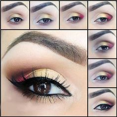 20 MakeUp Tutorials For Brown Eyes like the gold and red