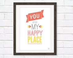 Letterpress Subway Style Quote Art Print You Are My by myretronest, $24.00