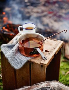 Hot spiced cider on a cool Autumn evening around a campfire.