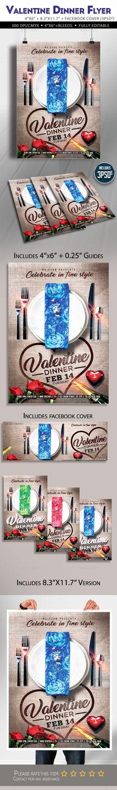 Valentine Day Flyer — Photoshop PSD #restaurant #valentine's • Available here → https://graphicriver.net/item/valentine-day-flyer/19327019?ref=pxcr