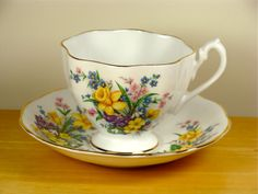 Spring Flowers Fine Bone China Teacup and Saucer Set by Queen Anne of England - Tiny and Beautiful Vintage Collectibles