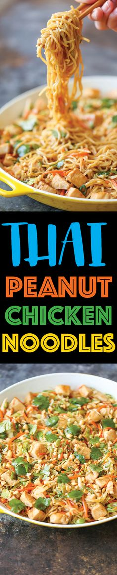 Thai Peanut Chicken Noodles - Damn Delicious