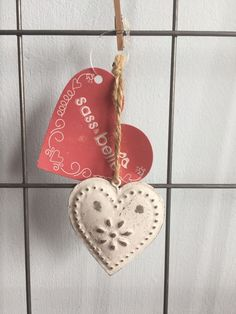 Sass and Belle Vintage Shabby Chic Heart Hanging Decoration | eBay