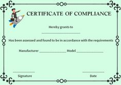 reach certificate of compliance template