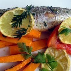 Pečený okáč s dýňovými hranolky - Okáč obecný - mořská ryba, upečeme si ho s dýňovými hranolky Camembert Cheese, Dairy, Fish, Meat, Ichthys