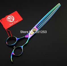 Purple Dragon 8.0inch Big Pet Thinning Scissors,Rainbow Colorful  Hair Scissors Pet Shears,Professional Scissors 1pcs LZS0337