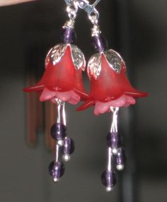 Red Pink and Purple Valentines Day Earrings by Sarahberra on Etsy, $6.00