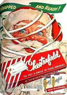 Vintage Christmas Ad ~ Chesterfield Cigarettes ~ Awesome Santa in this ad.