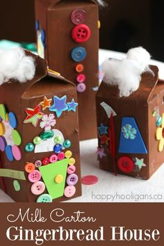 Milk Carton Gingerbread Houses - kids can turn milk and juice cartons into cute and colourful, SUGARLESS gingerbread houses! They're just as fun to make, and they'll keep forever too! - Happy Hooligans