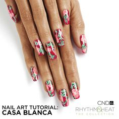 Whether completed on the entire hand or used as an accent nail, this fun floral nail art instantly transports you to another place and time. Created using the latest from CND's Rhythm Heat Collection, it jump-starts summer and gives us an instant feeling of fun! This look can be created using either Vinylux or Shellac, follow along below to see the steps to this upbeat design. This nail design is perfect for spring break, summer vacation or a tropical getaway.
