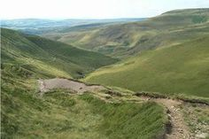 The Roman Road descends from Doctor's Gate towards Old Glossop  -  some of my old stomping grounds as a youth in the 1950s