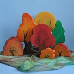 Waldorf Toy - Wooden Tree Toy, The ORIGINAL Autumn Forest Playset, Fall - Landscape Play