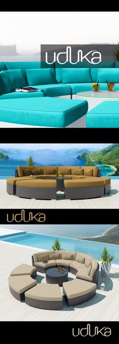 Modavi Round Patio Sectional with Turquoise, Dark beige and Light Beige cushions available in white and espresso brown resin wicker.