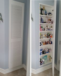 We used an empty wall in master bathroom to inset a medicine cabinet with louvered door. Makes access so easy!