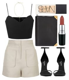 """""""Untitled #2284"""" by olivia-mr ❤ liked on Polyvore featuring Topshop, Yves Saint Laurent, Rebecca Minkoff, Alexander Wang, NARS Cosmetics and MAC Cosmetics"""