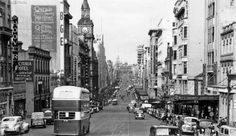 Postcard of Bourke Street, looking East from around Queen St in the Double-decker buses replaced cable trams on Bourke Street from Note Victoria Hotel on L, demolished for 'McDonald's carpark/offfices) Melbourne Victoria, Victoria Australia, Melbourne Street, History Photos, Local History, Street Look, Urban Planning, Old Photos, Vintage Photos