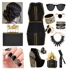 """""""Black and Gold """" by tickledpink1113 ❤ liked on Polyvore featuring Alexander McQueen, Balmain, Smoke & Mirrors, Miriam Salat, Oscar de la Renta, Samantha Wills, River Island, Jeffrey Campbell, Marc Jacobs and Gucci"""