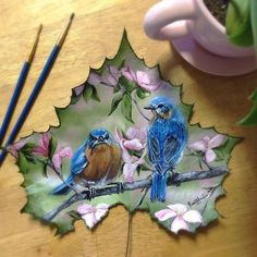 Janette Rose Art Gallery and painting collections - Art By Janette Rose Feather Painting, Butterfly Painting, Painting On Leaves, Leaf Paintings, Dry Leaf Art, Painted Leaves, Hand Painted, Leave Art, Leaf Crafts