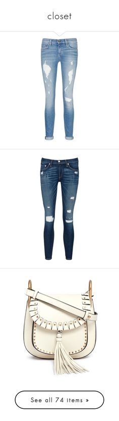 """closet"" by elhfashion ❤ liked on Polyvore featuring jeans, pants, bottoms, blue, ripped jeans, distressed skinny jeans, patched boyfriend jeans, ripped boyfriend jeans, blue ripped jeans and 11. pants."