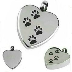 Pet urn pendant kit Keep your best furry friend close forever with this stainless steel heart shaped engravable pet urn pendant. 4 small black paw prints on front, clean engravable surface on back (shown pic 4). Comes with easy to use ash kit. You can also a clipping of hair instead of ashes. Pic 1(cover shot) is the actual color, the lighting  was bad on pics 2. 3, & 4.  Necklace not included. Jewelry Necklaces