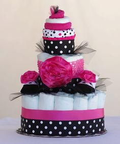 """The """"Polkadot Fancy""""  Diaper Cake & Cupcake Combo. Baby Shower Centerpiece or Gift. on Etsy, $55.00"""
