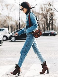 The New Way to Wear Denim on Denim This Fall via @WhoWhatWear