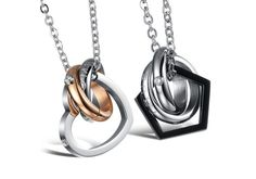 Matching His and Hers Titanium Love Necklaces Set for Two