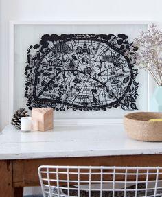 Paris Paper Cut Map by Julie Marabelle